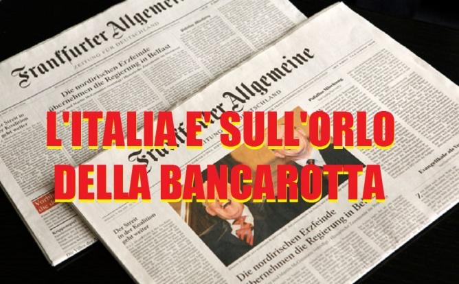 IL PRINCIPALE QUOTIDIANO TEDESCO: ''L'ITALIA E' SULL'ORLO DELLA BANCAROTTA, E' UN PAESE SENZA LAVORO E SENZA FUTURO''