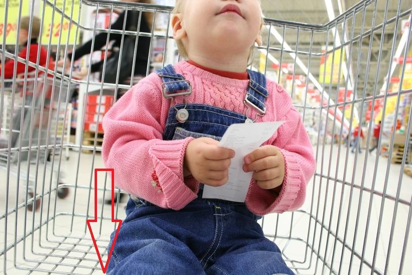 bambino in carrello della spesa