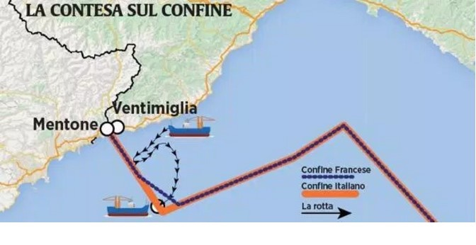 italia cede mare Francia gamberoni Ventimiglia