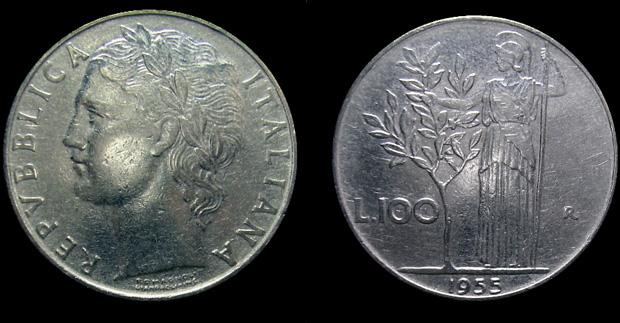 monete rare 100 lire del 1955