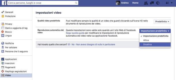 riproduzione automatica video facebook computer