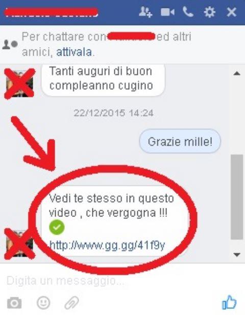 virus messaggio facebook amico